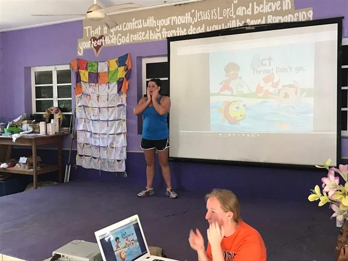 Goldfish Swim School Staff Giving a WATER Safety Presentation In Belize