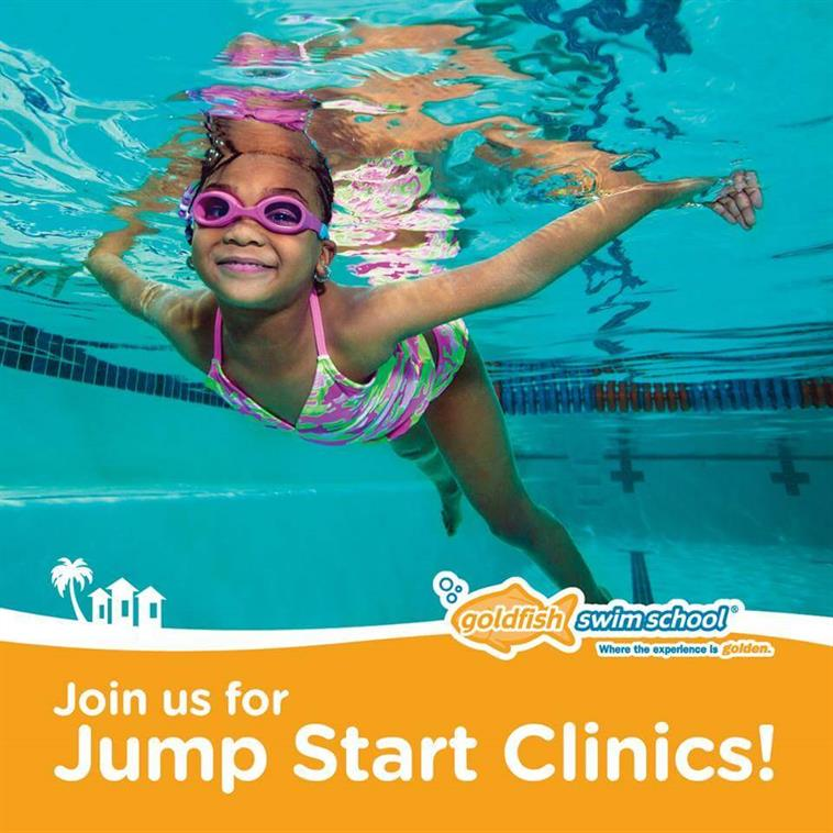 Little girl swimming with messaging: Join us for Jump Start Clincs!