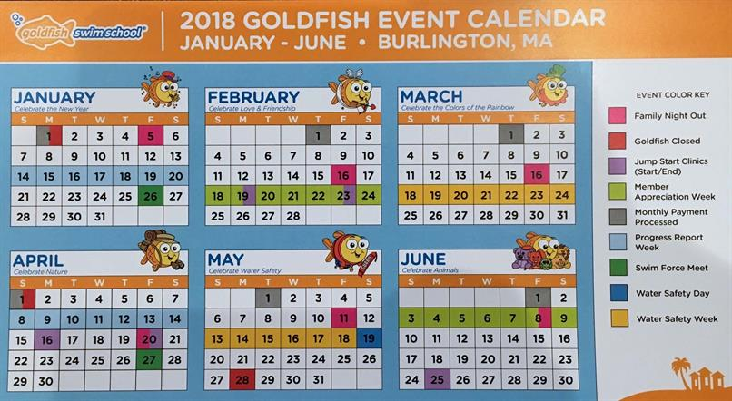 2018 Goldfish Event Calendar