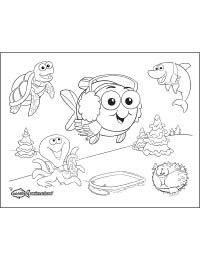 Bubbles and Friends Winter Coloring Sheet