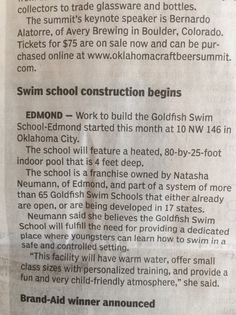 Photo of Article About Swim School Construction