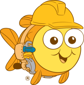 Bubbles The Mascot Wearing  A Hard Hat
